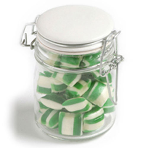 Corporate Coloured Humbugs In Clip Lock Jar 160G (Sticker)