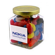 Jelly Beans in Square Jar 170G (Mixed Colours or Corporate Colours)