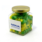 Corporate Coloured Humbugs In Square Jar 140G