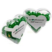 Acrylic Heart Filled With Jelly Beans 50G (Corp Coloured Or Mixed Coloured Jelly Beans)