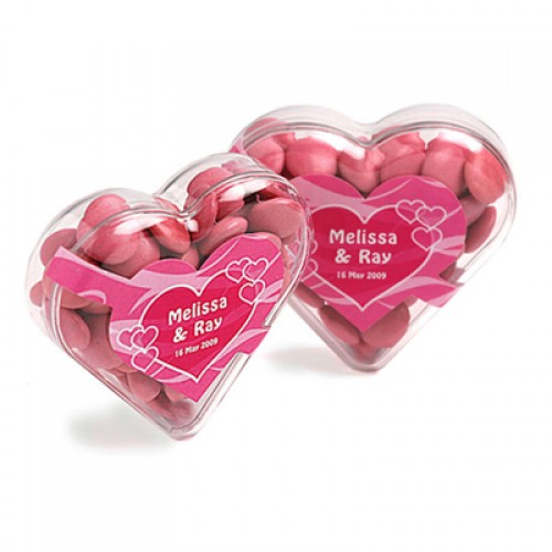 Acrylic Heart Filled With Choc Beans 50G (Sticker)