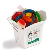 White Cardboard Noodle Box Filled With Mixed Lollies 100G