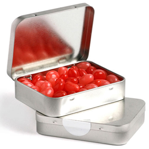 Rectangle Hinge Tin Fillled With Jelly Beans 65G (Sticker)