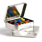 Rectangle Hinge Tin Fillled with Choc Beans 65G (Sticker)