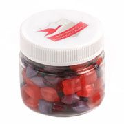CORPORATE COLOURED HUMBUGS IN PLASTIC JAR 65G
