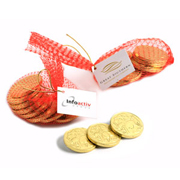 Chocolate Coins In Mesh Bag With Gold Elastic Ribbon Tied In A Bow X10