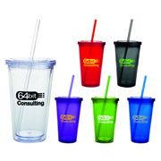 Double Wall Tumbler with Straw - 532ml