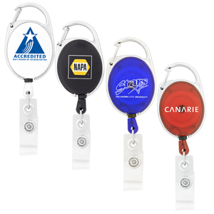 Retractable Badge Holder w/ Carabiner Clip