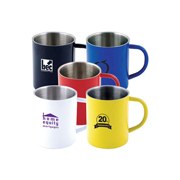 Stainless Steel Coloured Double Wall Mug