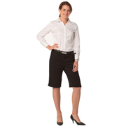 Women's Poly/Viscose Stretch Knee Length Flexi Waist Shorts