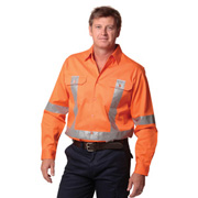 High Visibility Regular Weight Long Sleeve Drill Shirts