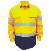 2 Tone Cotton Drill Shirt, Long Sleeve with 3M Tape (Arm)