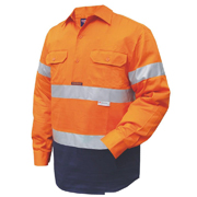 2 Tone Cotton Drill Shirt, Closed Front, Long Sleeve with 3M Tape (Arm)