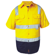2 Tone Cotton Drill Shirt, Short Sleeve with 3M Tape