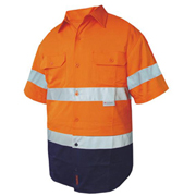 2 Tone Cotton Drill Shirt, Short Sleeve with 3M Tape (Arm)
