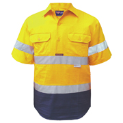 2 Tone Cotton Drill Shirt, Closed Front, Short Sleeve with 3M Tape (Arm)