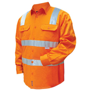 Solid Hi Vis Cotton Drill Shirt, Long Sleeve with 3M Tape