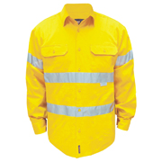 Solid Hi Vis Cotton Drill Shirt, Long Sleeve with 3M Tape (Arm)