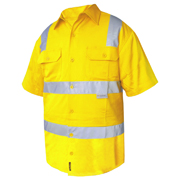 Solid Hi Vis Cotton Drill Shirt, Short Sleeve with 3M Tape