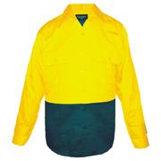 2 Tone Cotton Drill Shirt, Long Sleeve