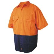 2 Tone Cotton Drill Shirt, Short Sleeve