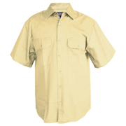 Solid Colour Cotton Drill Shirt, Short Sleeve