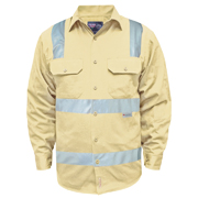 Solid Colour Cotton Drill Shirt, Long Sleeve with 3M Tape