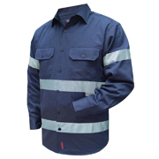 Solid Colour Cotton Drill Shirt, Long Sleeve with 3M Tape (Arm)