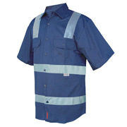 Solid Colour Cotton Drill Shirt, Short Sleeve with 3M Tape