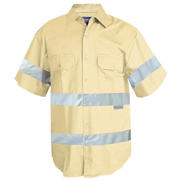 Solid Colour Cotton Drill Shirt, Short Sleeve with 3M Tape (Arm)