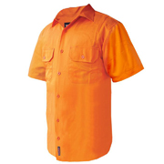 Solid High Vis Cotton Drill Shirt, Short Sleeve