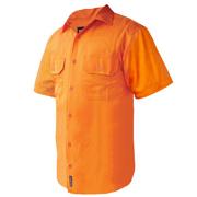 Solid High Vis Cotton Drill Shirt, Short Sleeve