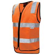 Hi Vis Cotton Vest with 3M Tape - Zipper Closure (Plastic)
