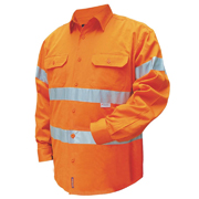 Solid Hi Vis Drill Shirt, Lightweight, Mesh Vents, Long Sleeve with 3M Tape (Arm)