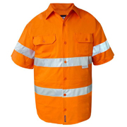 Solid Hi Vis Drill Shirt, Lightweight, Mesh Vents, Short Sleeve with 3M Tape (Arm)