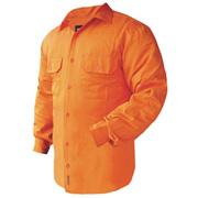 Solid Hi Vis Drill Shirt, Lightweight, Mesh Vents, Long Sleeve