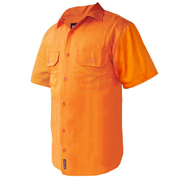 Solid Hi Vis Drill Shirt, Lightweight, Mesh Vents, Short Sleeve