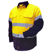 2 Tone Cotton Drill Shirt, L/Sleeve Half Navy Sleeve, Navy Collar with 3M Tape (Arm)