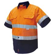 2 Tone Cotton Drill Shirt, Short Sleeve, Half Navy Sleeve, Navy Collar with 3M Tape (Arm)