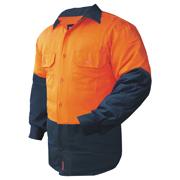 2 Tone Cotton Drill Shirt, L/Sleeve, Half Navy Sleeve, Navy Collar